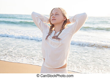 Teen Girl Resting. Dreams, Innocence and Sea