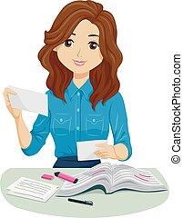 Teen Girl Reviewer Flashcards Illustration - Illustration of...