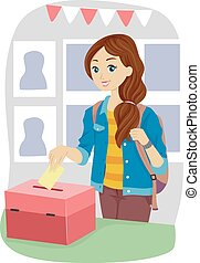 Teen Girl School Cast Vote - Illustration of a Teenage Girl...