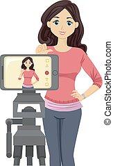 Teen Girl Self Audition Phone Illustration