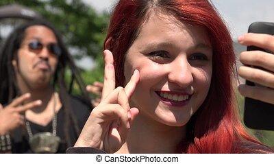 Teen Girl Selfie Photobomb