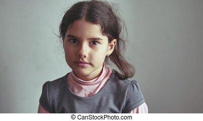 Teen girl shaking her head gesture is not denial, emotion -...