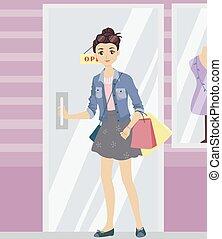 Teen Girl Shop Open Door