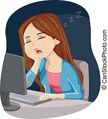 Teen Girl Sleep Computer