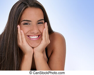 Teen Girl Smile - Beautiful Teen Girl With Chin in Hands. ...