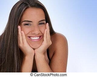 Teen Girl Smile - Beautiful Teen Girl With Chin in Hands....
