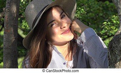 Teen Girl Smiling At Park