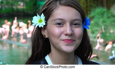 Teen Girl Smiling At Zoo
