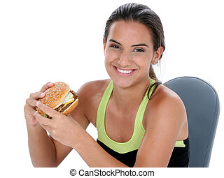 Teen Girl Sport Food - Beautiful Teen Girl Holding Colorful...