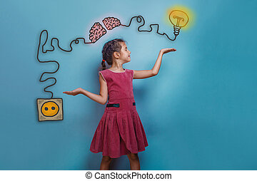 teen girl spread her arms and smiles balance charging cord plug wire igniter charge and sketch infographics