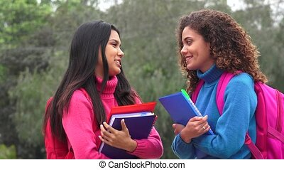 Teen Girl Students Friends Talking