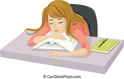Teen Girl Study Sleep
