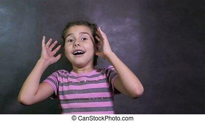 teen girl surprise fright big eyes studio - teen girl...