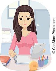 Teen Girl Tablet Study Bedroom