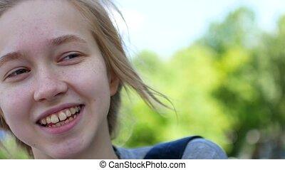 Teen girl talking to a camera. 4K UHD. - Teen girl talking...