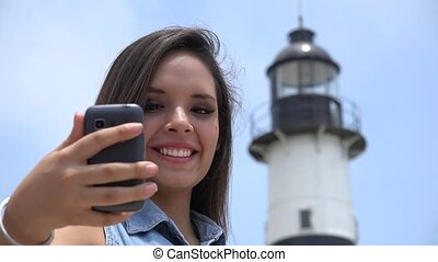 Teen Girl Tourist Selfy At Lighthouse