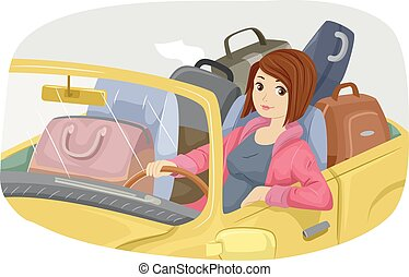 Teen Girl Traveling by Car - Illustration of a Teenage Girl...