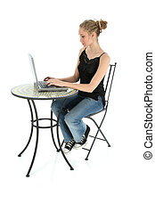 Teen Girl Typing