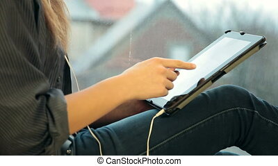 Teen Girl Using Digital Tablet