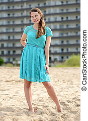 teen girl vacation at beach resort - portrait of a teen girl...