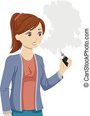 Teen Girl Vaping Illustration