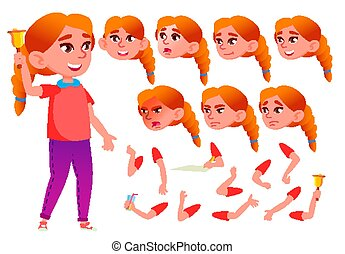 Teen Girl Vector. Teenager. Beauty, Lifestyle. Face Emotions, Various Gestures. Animation Creation Set. Isolated Flat Cartoon Character Illustration