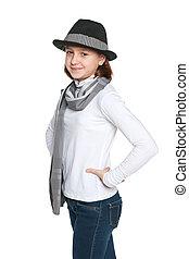 Teen girl walks
