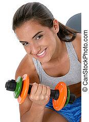 Teen Girl Weights - Beautiful dark haired tan teen girl in ...