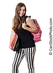 teen girl with a backpack and books