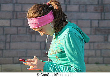 teen girl with a phone