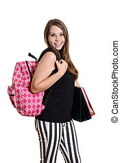 teen girl with backpack and books