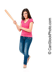 Teen girl with baseball bat