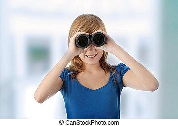 Teen girl with binocular