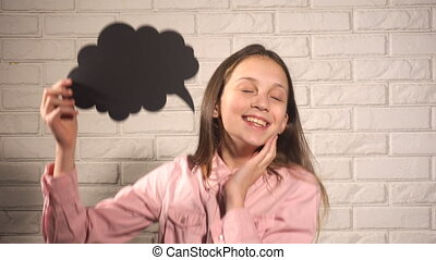 Teen girl with black thinking cloud dreaming about something