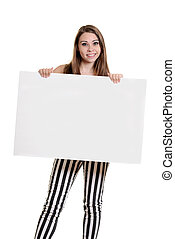 teen girl with blank sign