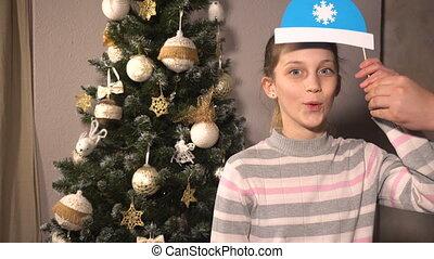 Teen girl with christmas props mask - Teen girl with funny...