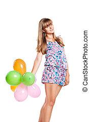 Teen girl with colorful ballons
