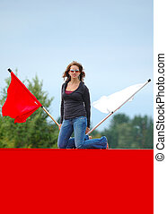 Teen Girl With Flags
