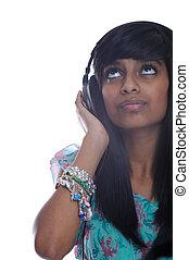 Teen girl with headphones