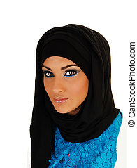 Teen girl with headscarf.
