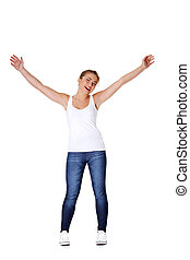 Teen girl with her hands up