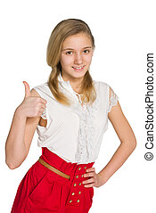 Teen girl with her thumb up