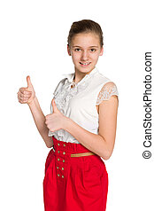 Teen girl with her thumbs up