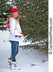 teen girl with ice skates