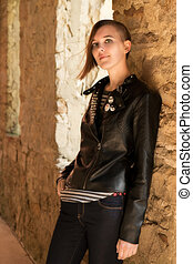 Teen girl with leather jacket