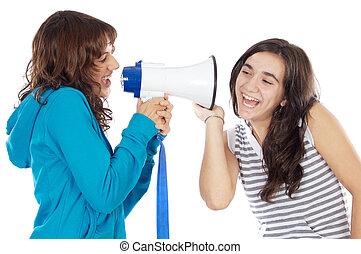 Teen girl with megaphone