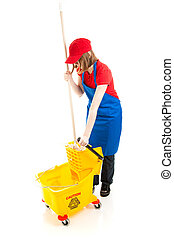 Teen Girl with Mop and Bucket