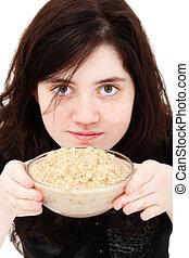 Teen Girl with Oatmeal