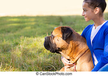 teen girl with the dog