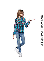Teen girl with two opened hand palms with blank copy spaces